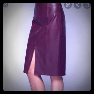 Talbots Purple Leather Pencil Skirt